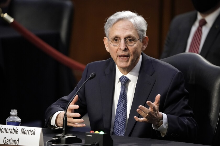 Judge Merrick Garland answers questions as he appears before the Senate Judiciary Committee for his confirmation hearing.