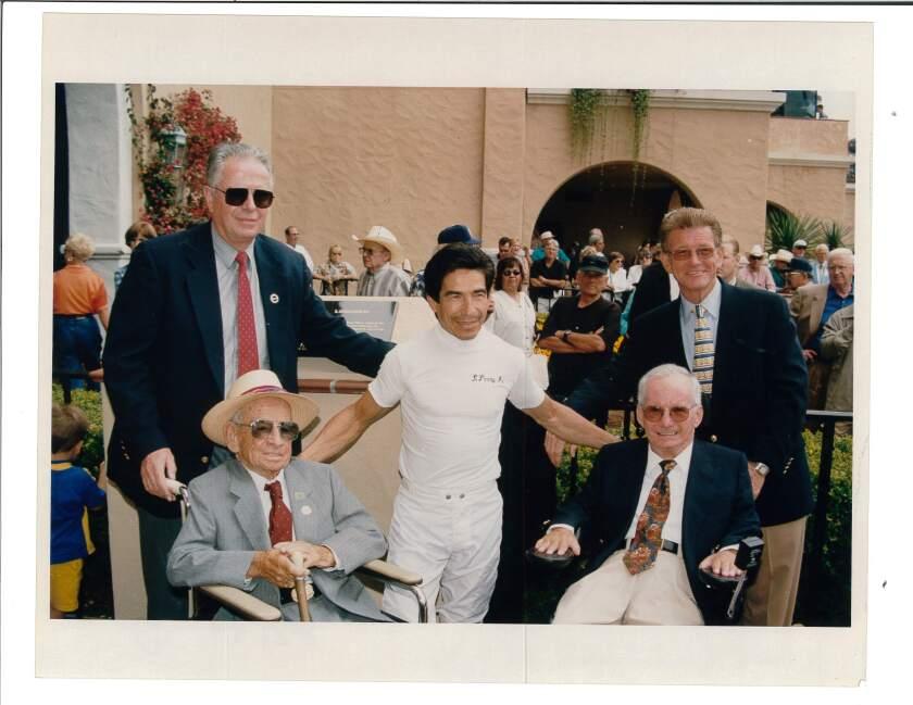 Front row (from left), jockeys John Longden, Laffit Pincay, Jr. and Bill Shoemaker. Back row, Dan Smith (left) and Joe Harper