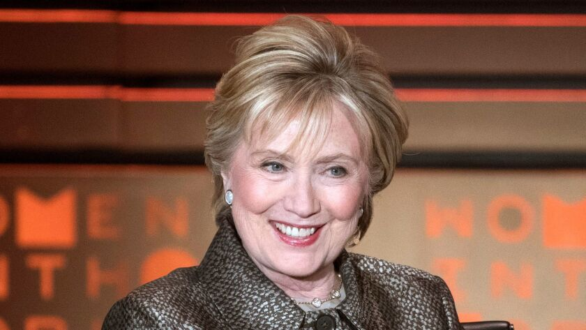 FILE - In this April 6, 2017 file photo, former Secretary of State Hillary Clinton speaks during the