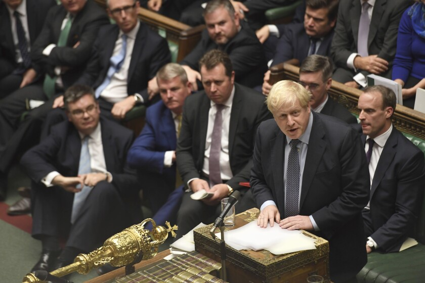 British Prime Minister Boris Johnson  during the Saturday session of Parliament called to vote on Johnson's Brexit deal.