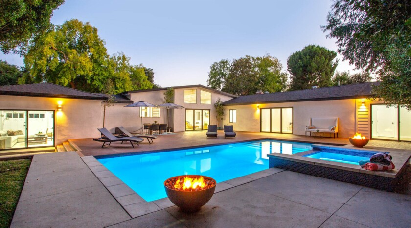 Marisol Nichols' quarter-acre property includes a remodeled single-story home, a studio and a swimming pool.