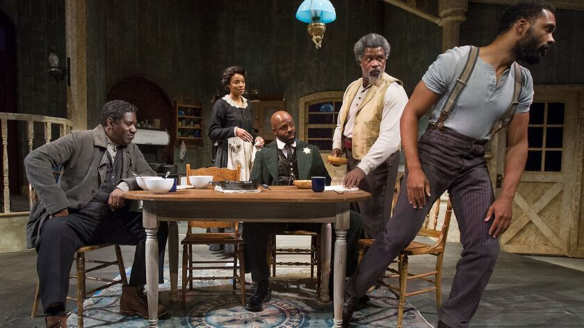 "Cast members, from left to right, Cleavant Derricks, Shinelle Azoroh, Arnell Powell, Matt Ordu–a and Preston Bulter III during rehearsal for August Wilson's ""Gem of the Ocean"" at South Coast Repertory in Costa Mesa."