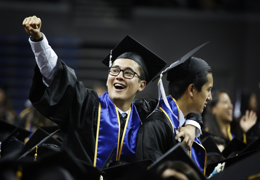 LOS ANGELES, CA June 7, 2016 UCLA 2016 grads celebrate during Commencement ceremonies help June 10, 2016 for the College of Letter and Science. UCLA College commencement ceremonies were held at 2 and 7 p.m with more than 5,000 graduating seniors at the Pauley Pavilion in Westwood Plaza. (Barbara Davidson / Los Angeles Times)