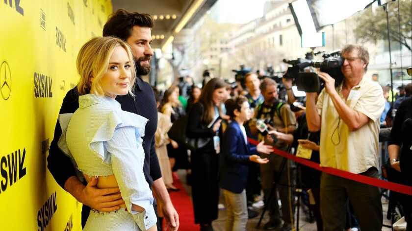 "Emily Blunt and John Krasinski attend ""A Quiet Place"" premiere at the 2018 SXSW Conference and Festivals at Paramount Theatre on March 9 in Austin, Texas."