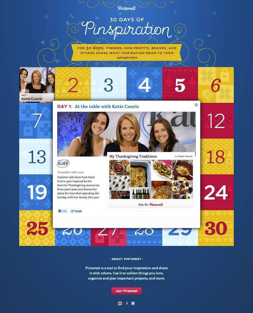 """Pinterest, the popular social networking site that lets you collect and share images from around the Web by pinning them to virtual boards, on Tuesday launched its """"30 Days of Pinspiration"""" holiday themed boards with Katie Couric's favorite Thanksgiving recipes."""
