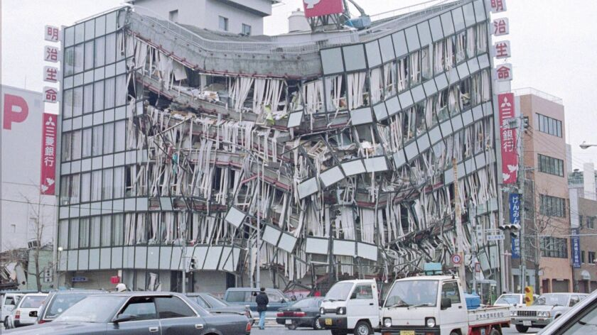The six-story Mitsubishi Bank in Kobe, Japan, stands in ruins on Jan. 18, 1995, following an earthquake that claimed over 2,000 lives.