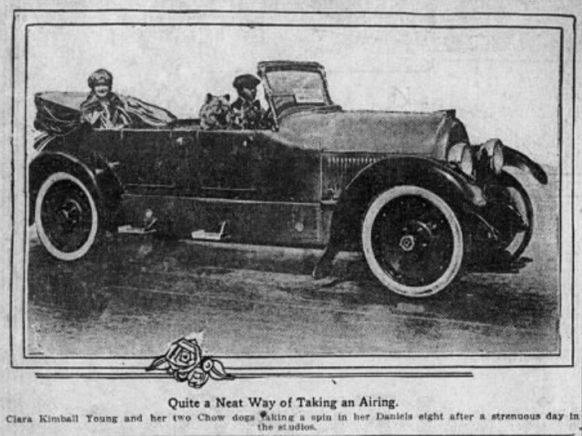 A 1920 newspaper photo shows a car with an actress and her dogs inside
