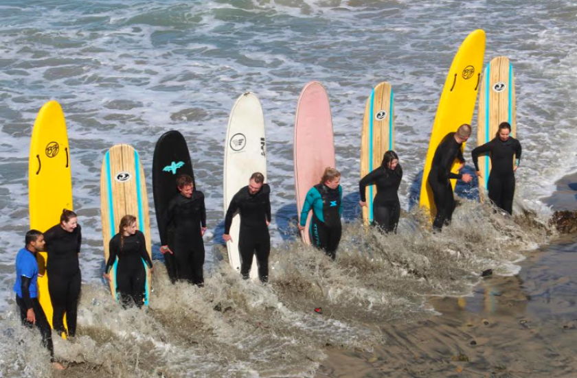 The surf will reach the 4-foot to 5-foot range at favored spots in South County on Monday, and 3-feet to 4-feet in North County. The sea surface temperature at Scripps Pier on Sunday was 62 degrees.