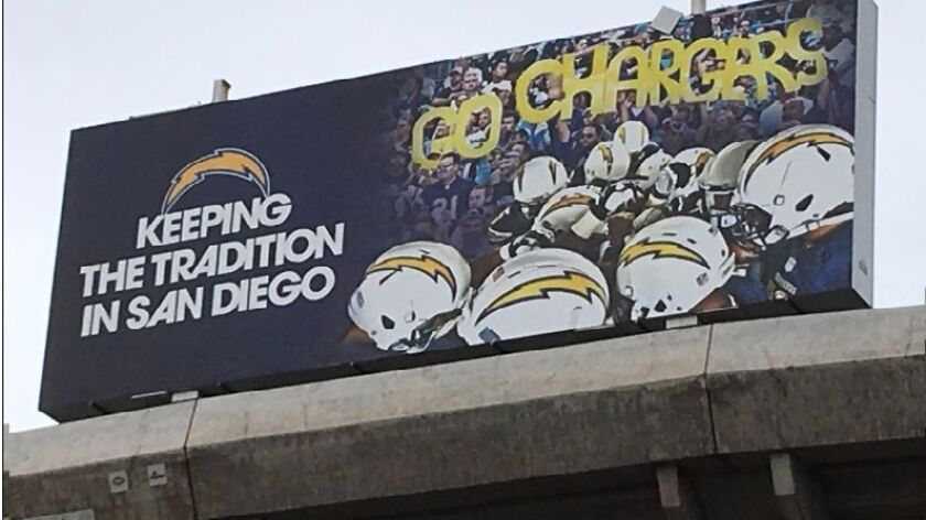 "This sign still rose above Qualcomm Stadium after the Chargers announced their departure. The ""Go Chargers"" takes on a whole new meaning."