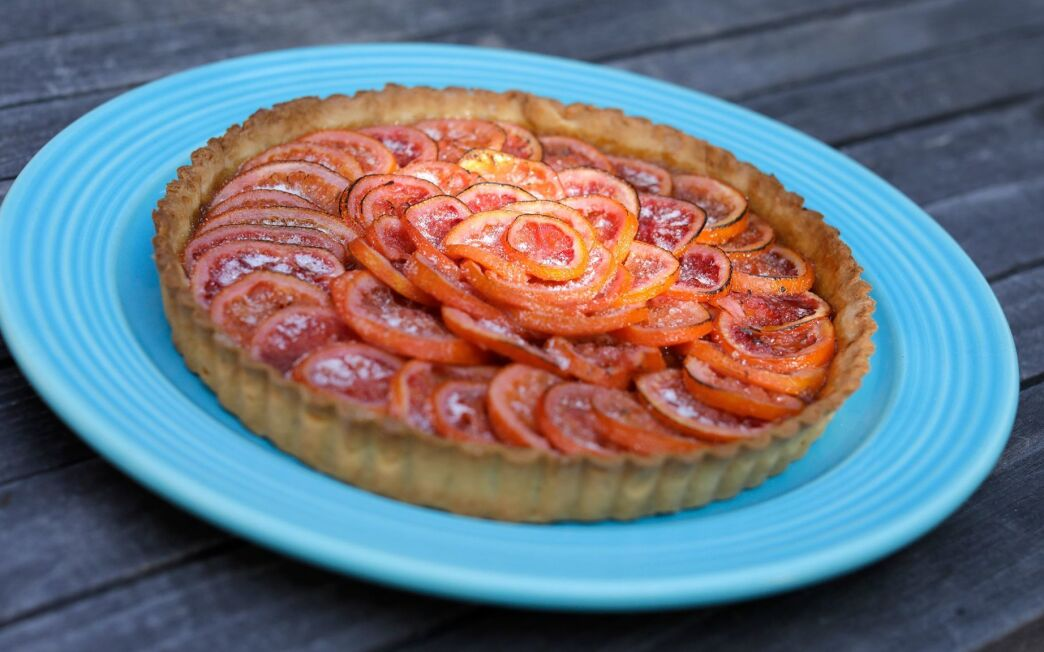 Blood orange and rhubarb tart