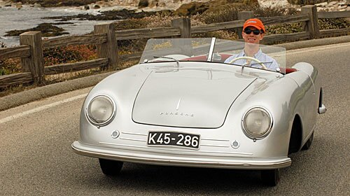 This summer I've had a chance to bookend Porsche by driving the very first Porsche -- the Gmund Porsche 356-001 (so called because it was fettled in Gmund, Austria, in 1948, during the company's brief hegira from Stuttgart). -- Dan Neil