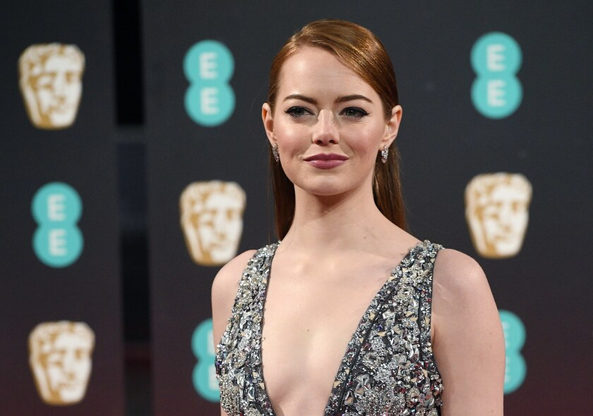 Emma Stone arrives for the 70th annual British Academy Film Awards at the Royal Albert Hall in London. The ceremony is hosted by the British Academy of Film and Television Arts (BAFTA).