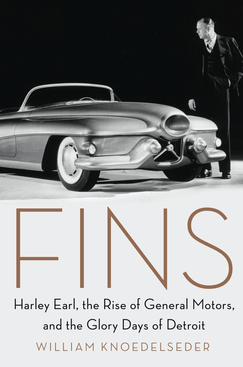 Book jacket for 'Fins: Harley Earl, the Rise of General Motors, and the Glory Days of Detroit' by Wi