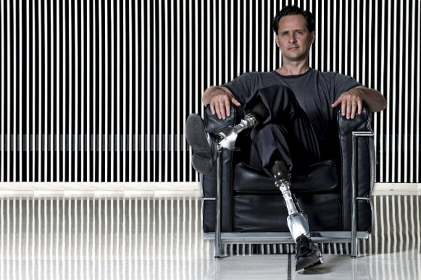 In this image released by Fundacion de Asturias on Wednesday June1, 2016, Hugh Herr poses in this hand out photo. American bionic limb specialist Hugh Herr won Spain's Princess of Asturias 2016 scientific research prize Wednesday in recognition of his work to improve mobility for people with disabi