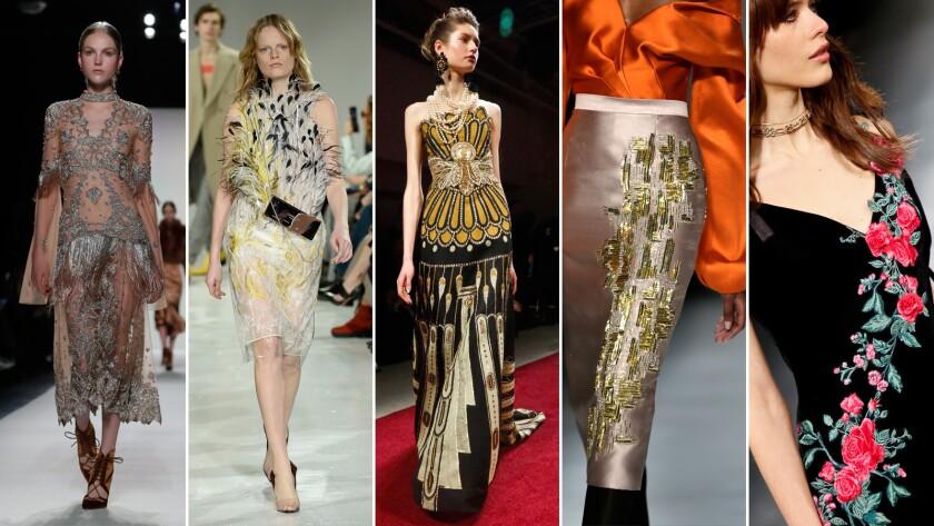 Embellishment trends at New York Fashion Week, from left: Jonathan Simkhai; Calvin Klein; Naeem Khan; Bibhu Mohapatra; and Tadashi Shoji.