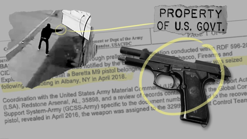 A photo illustration showing a gun tied to four shootings in Albany, New York, an investigative document and surveillance video of one shooting. (AP Illustration)