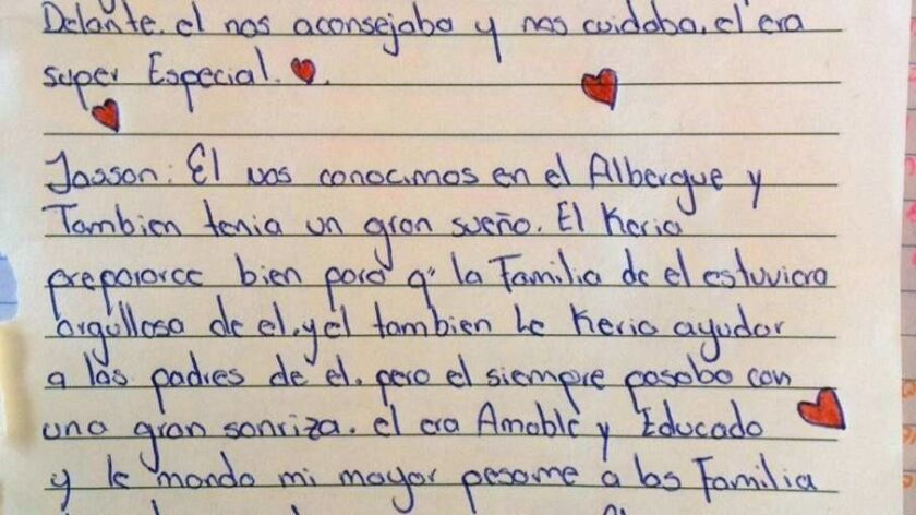 One of the letters written by shelter roommates to the two Honduran teenages killed last month in Ti
