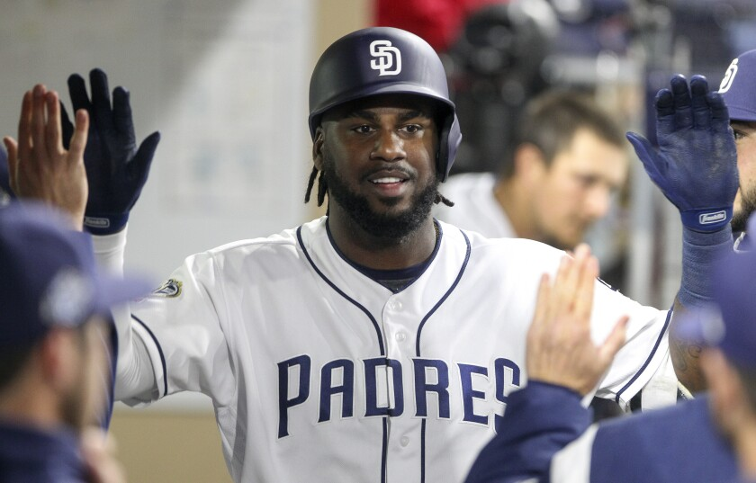 Franmil Reyes, who hits his 16th home run of the season Friday against the Marlins, celebrates a May 16 homer against the Pirates at Petco Park.