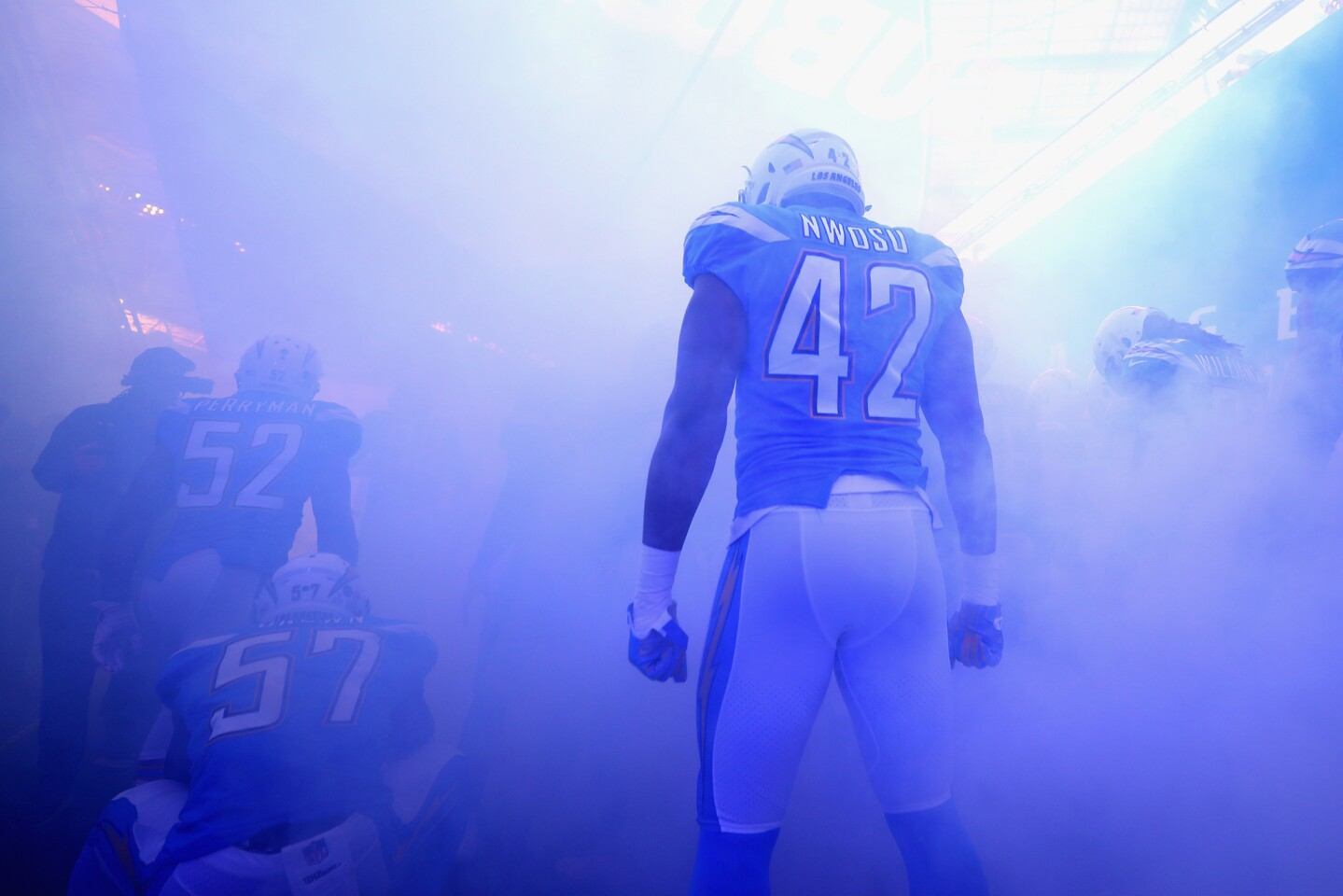 Uchenna Nwosu of Los Angeles Chargers is seen in the tunnel during the NFL International Series match between Tennessee Titans and Los Angeles Chargers at Wembley Stadium on October 21, 2018 in London, England.