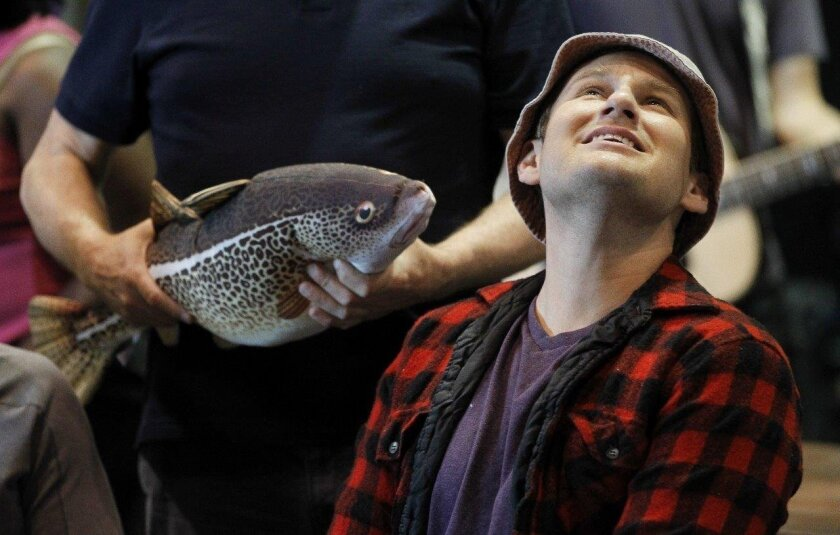 """Chad Kimball rehearses a scene from La Jolla Playhouse's world-premiere musical """"Come From Away."""""""