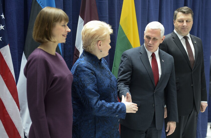 Latvian President Raimonds Vejonis, US Vice President Mike Pence, Lithuanian President Dalia Grybauskaite and Estonian President Kersti Kaljulaid at the Munich Security Conference.