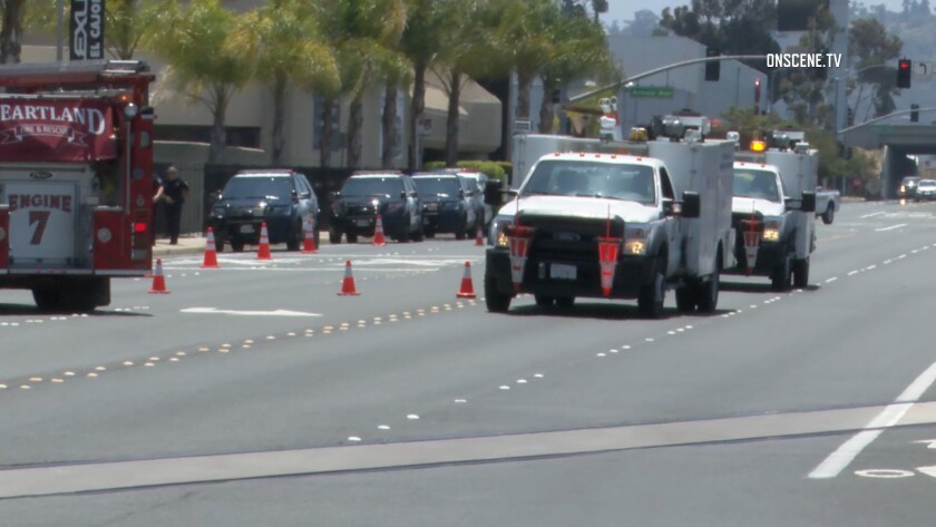 A gas leak Friday forced authorities to shut down a stretch of road in El Cajon and halt nearby trolley service.