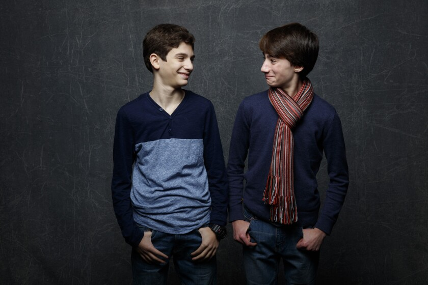 "Michael Barbieri, left, and Theo Taplitz from ""Little Men, "" in the L.A. Times photo and video studio at the Sundance Film Festival on Jan. 25."