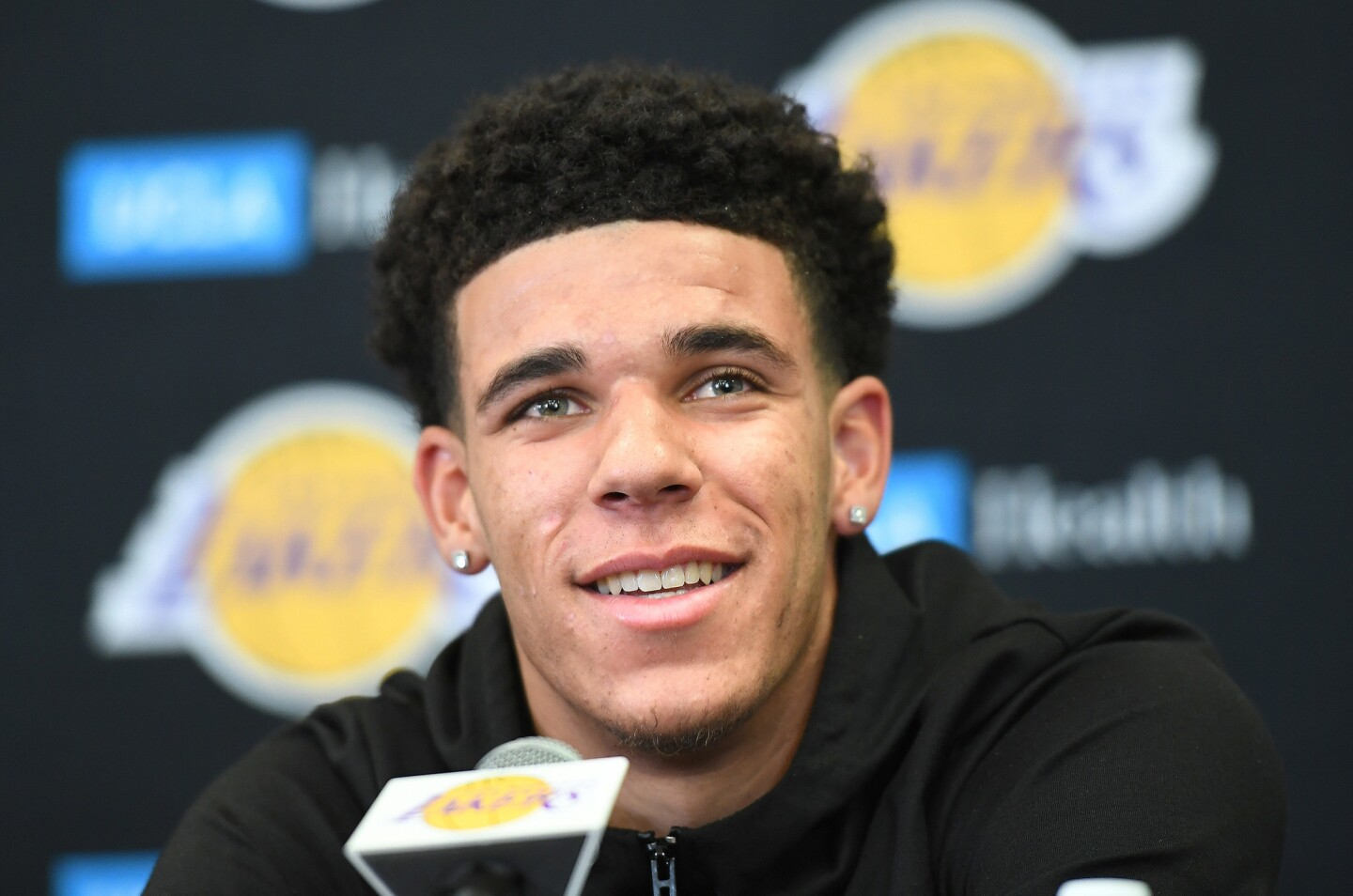 Lakers first-round draft pick Lonzo Ball addresses the media during his introductory news conference at the team's training facility in El Segundo.