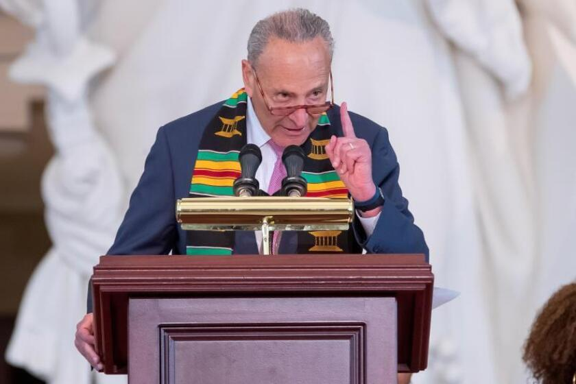 US Democratic Senate Minority Leader of New York Chuck Schumer speaks during the Commemoration of the 400th Anniversary of the First-Recorded Forced Arrival of Enslaved African People in Emancipation Hall at the Capitol in Washington, DC, USA, 10 September 2019. EFE/EPA/Erik S. Lesser