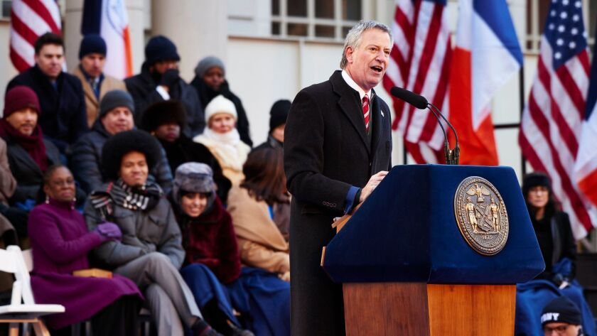New York City Mayor Bill de Blasio delivers a speech during his second inauguration in New York City Hall on Jan. 1.