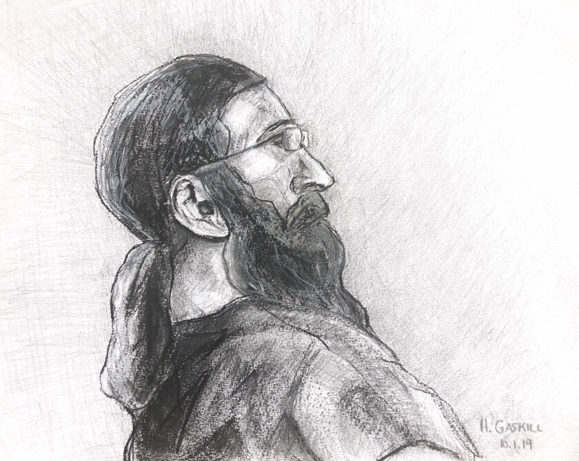 In this sketch made available by Capital News Service, Jarrod Ramos appears in Anne Arundle County Circuit Court Tuesday, Oct. 1, 2019 in Annapolis, Md. Ramos is charged with the fatal shooting of five employees at the Capital Gazette newsroom in June 2018. (Hannah Gaskill/Capital News Service via AP)