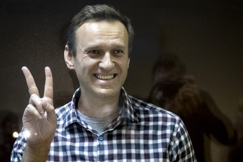 FILE - In this Saturday, Feb. 20, 2021 file photo, Russian opposition leader Alexei Navalny