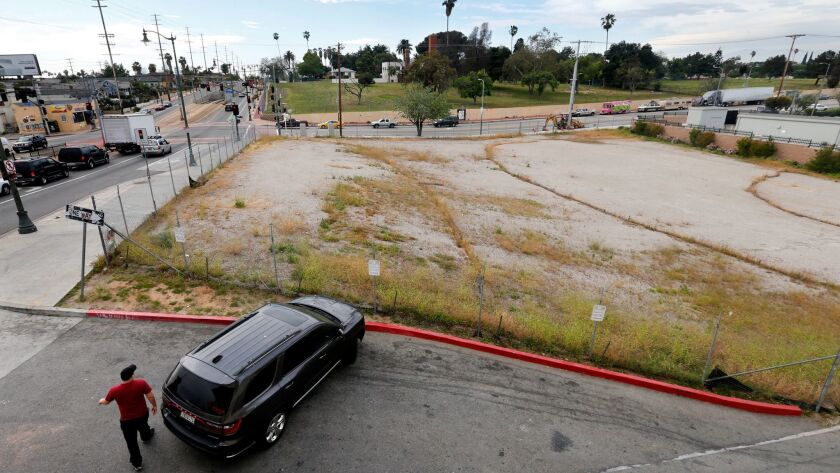 BOYLE HEIGHTS, CA-APRIL 6, 2017: Overall, shows an empty lot, located at the intersection of 1st St