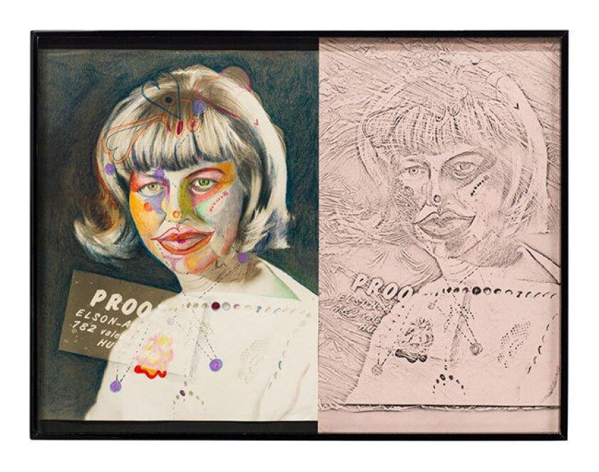 """Barbara T. Smith, """"Proof,"""" 1965-66, drawing, Xerox print, 43"""" x 14""""."""