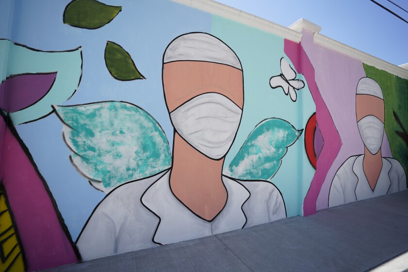 The mural is located outside the Clinica Libre in Tijuana.
