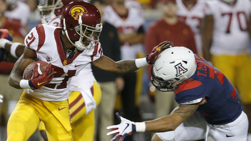 Southern California wide receiver Tyler Vaughns (21) in the first half during an NCAA college footba