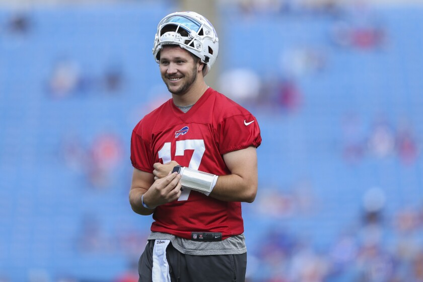 Buffalo Bills quarterback Josh Allen smiles during practice at training camp in Orchard Park, N.Y., on July 31, 2021.