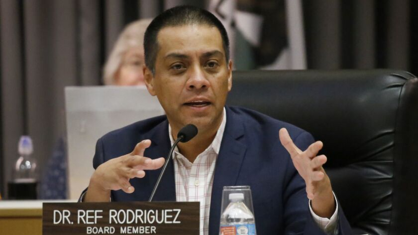 Charter school backers endorsed Ref Rodriguez but are reticent about getting behind a successor for the school board member, who resigned in July after pleading guilty to campaign finance violations.