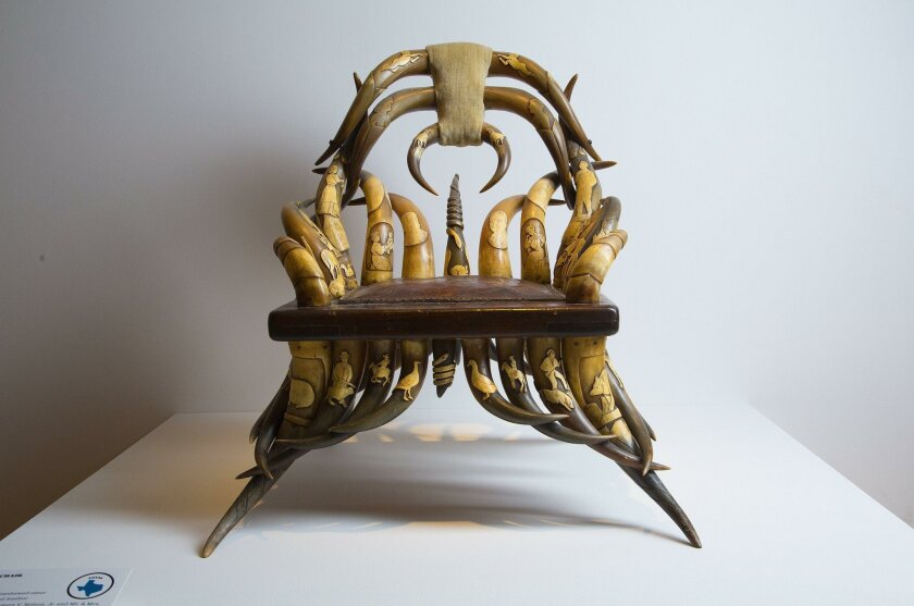 SAN DIEGO, CA-OCTOBER 8, 2015:    On display at the Mingei International Museum in Balboa Park, Long Horn Chair, pierced, carved scrimshawed steer horns, wood tooled leather, from Texas.    (Nelvin C. Cepeda / San Diego Union-Tribune)