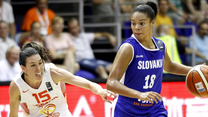 Kristi Toliver (18), shown during a Eurobasket group game on June 13, had a franchise record 43 points in the Sparks' victory on Friday night.