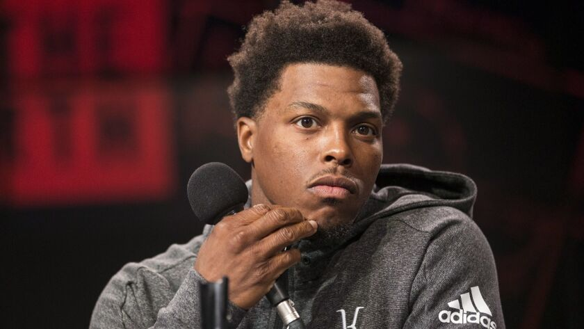 Toronto Raptors NBA basketball team player Kyle Lowry is photographed during media day in Toronto, M