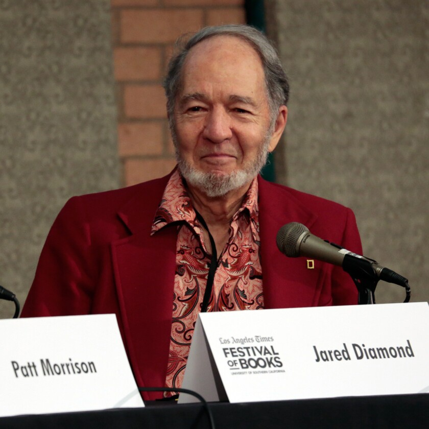 """At the Festival of Books on Sunday, Jared Diamond said he's more optimistic than he was when he wrote """"Guns, Germs, and Steel"""" in 1997 or """"Collapse"""" in 2005."""