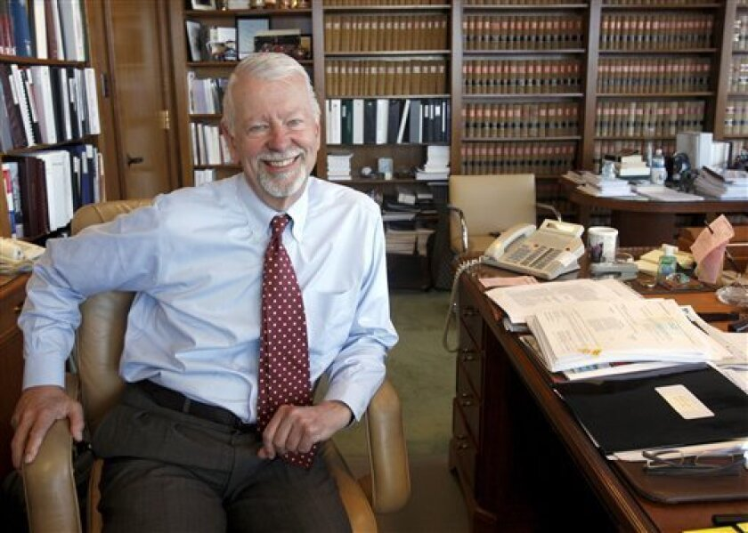 FILE - In this photo taken Wednesday, July 8, 2009, Judge Vaughn Walker is seen in his chambers at the Phillip Burton Federal Building in San Francisco, Calif. Walker, the federal judge who struck down California's gay marriage ban, says he never considered recusing himself from the case because he is gay.(AP Photo/San Francisco Chronicle, Paul Chinn) NORTHERN CALIFORNIA MANDATORY CREDIT PHOTOG & CHRONICLE; MAGS OUT; NO SALES;