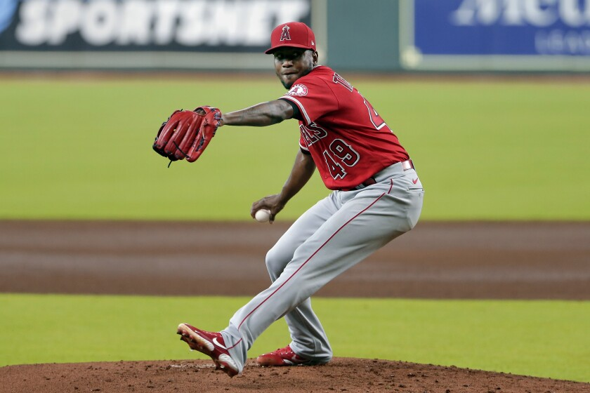 Angels pitcher Julio Teheran throws against the Houston Astros.