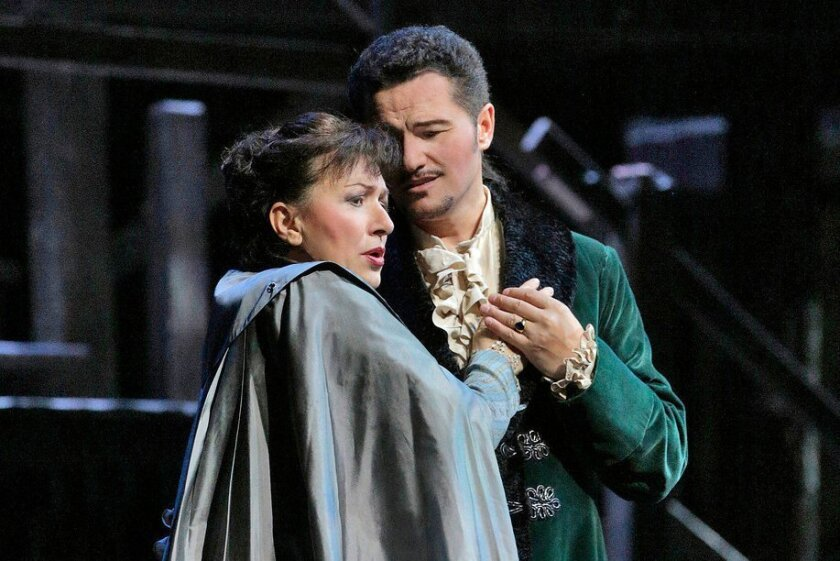 """Krassimira Stoyanova and Piotr Beczala in the San Diego Opera's """"A Masked Ball,"""" which recently concluded its run. The Opera voted Wednesday to cease operations; the final performance will be April 13. Photo: Ken Howard"""