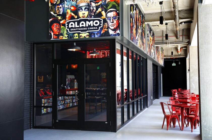 The entrance to the Alamo Drafthouse LA as part of The Bloc in downtown Los Angeles