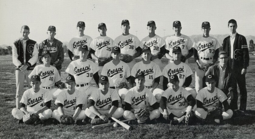 Jim Loll (No. 36) and Rick Dempsey (No. 32) on the 1967 Crespi High baseball team.