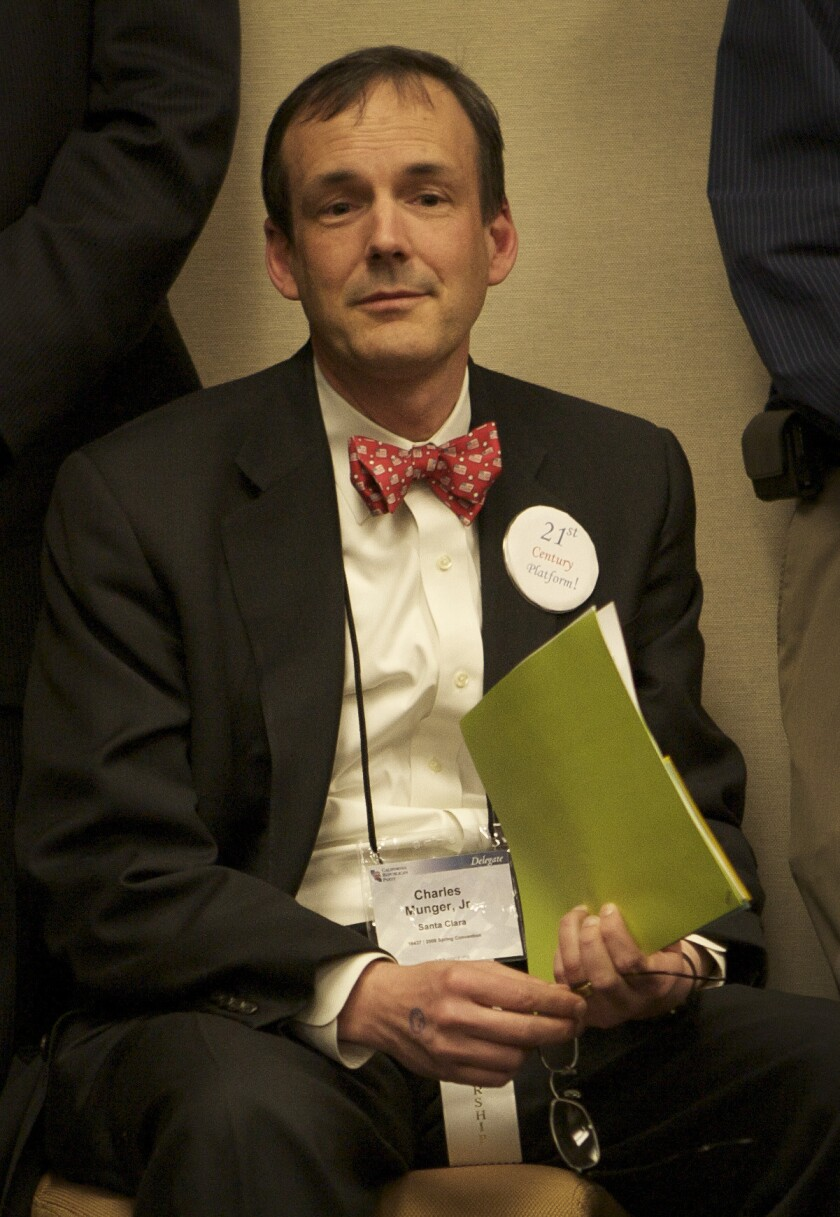 Charles Munger, shown in 2008, is supporting GOP candidate Neel Kashkari's bid for California governor.
