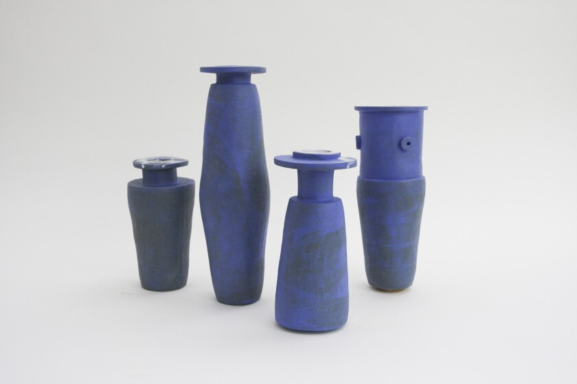 """Blue Tube vessels by Glassell Park ceramist Bari Ziperstein are included in the new show """"Site Specific L.A."""" at Austere in downtown Los Angeles."""