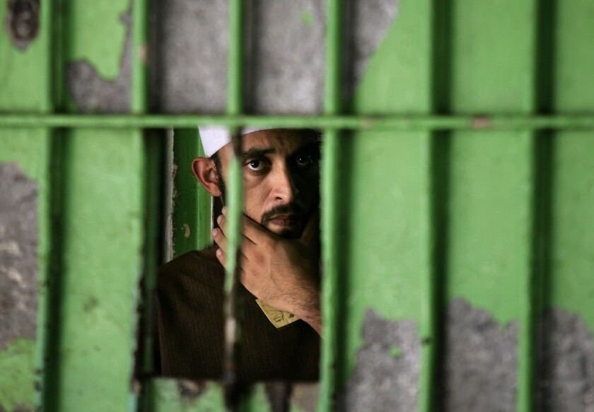 A Palestinian prisoner is seen at the Hamas-controlled Saraya prison in Gaza City in 2007. A human rights group says complaints of torture and other abuses rose again in 2013, particularly in the Gaza Strip.